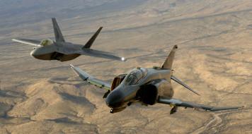 f-22 raptor,  f-4 phantom ii, авиация, боевые самолёты, многоцелевой, истребитель, boeing, f22, raptor, lockheed, f4, phantom, 2, mcdonnell, douglas