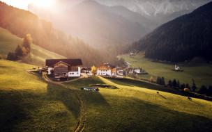 дома, долина, горы