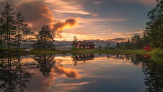 закат, дома, озеро