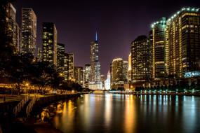 города, чикаго , сша, река, небоскребы, ночь, огни