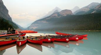озеро, причал, лодки, горы