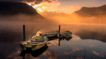корабли, лодки,  шлюпки, закат, река
