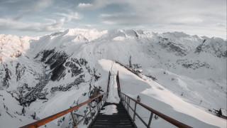 обои для рабочего стола 2560x1440 природа, горы, зима, снег, франция, лестница, снежные, вершины