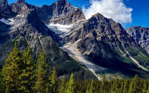 природа, горы, вершины, облако, снег