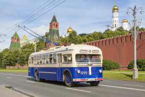 троллейбус, техника, троллейбусы, кремль, москва, город, ретро