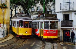 трамваи лиссабон, техника, трамваи, лиссабон, город, португалия, улица