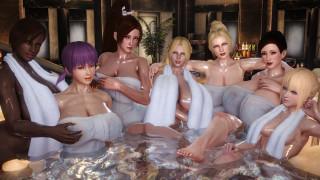 3д графика, аниме , anime, полотенце, вода, взгляд, фон, девушки