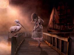 фэнтези, фотоарт, девушка, пристань, фон, пеликан, корабль