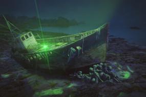 фэнтези, корабли, лодка, скелет, фон