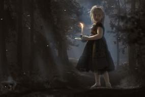 фэнтези, фотоарт, череп, паук, взгляд, свеча, лес, фон, девочка