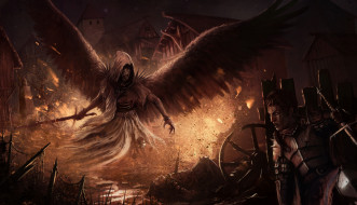 существо, фон, крылья, меч, рыцарь, мужчина