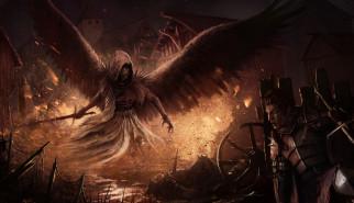 фэнтези, демоны, меч, крылья, фон, существо, рыцарь, мужчина