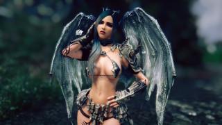 3д графика, ангел , angel, крылья, взгляд, фон, девушка