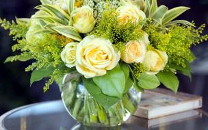 цветы, букеты,  композиции, зелень, розы