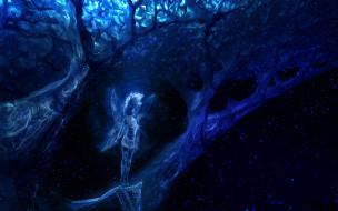 фон, дерево, крылья, девушка