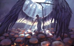 нимб, крылья, фон, коса, девушка