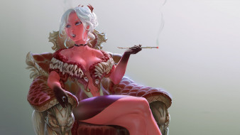 фон, мундштук, девушка, кресло, сигарета, дым