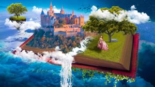 замок, водопад, девушка, деревья, книга, облака, небо