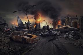самолет, город, пожар, автомобиль