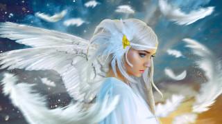 крылья, фон, девушка