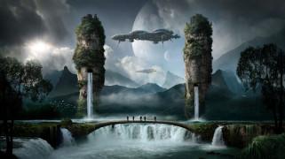 люди, корабли, водопад, скалы, фон, вода
