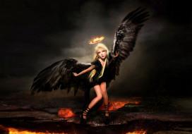 девушка, фон, крылья, нимб, взгляд