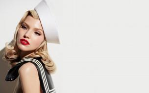 обои для рабочего стола 3072x1920 девушки, саша лусс, лицо, воротник, блондинка, шляпка