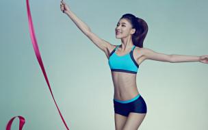 тренажерный зал, женщины, китай, спортивный бюстгальтер, короткие шорты, фитнес, гимнастика