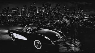 мужчина, город, панорама, машина