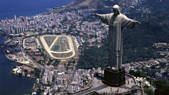 города, - памятники,  скульптуры,  арт-объекты, вид, с, воздуха, город, рио, де, жанейро, бразилия, христос, искупитель