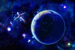 космос, арт, спутник, звезды