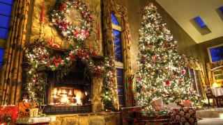 новогодняя елка, новый год, праздник, очаг