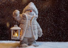 фонарь, снеговик, снег