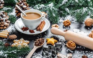печенье, орехи, кофе