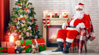 санта, подарки, камин, елка