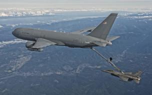 авиация, разные вместе, boeing, военно-транспортные, самолеты, ввс, сша, военные, самолеты-заправщики, pegasus, kc46, fighting, f, f16, general, dynamics, дозаправка, самолетов, в, воздухе