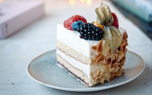 физалис, торт, миндаль, ежевика