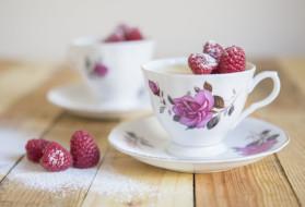 чашка, малина, ягоды