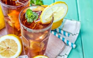 лимон, мята, коктейль, лед
