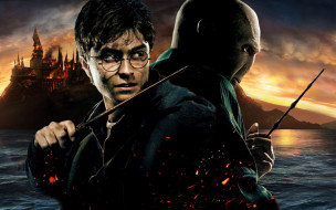 Хогвардс, Гарри Поттер, палочки, пожар, озеро, Воландеморт, искры