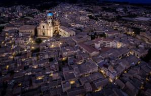 вид с воздуха, сицилия, италия, собор, город