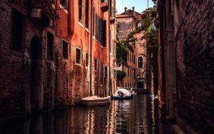 города, венеция , италия, канал, лодки, дома