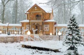 олени, ёлка, снег, резьба, фонарь, дом