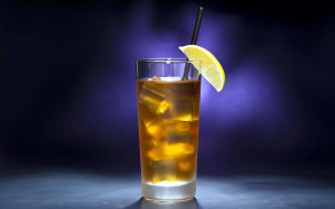 лимон, коктейль, лед