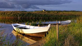корабли, лодки,  шлюпки, река, трава