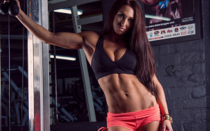 тренажерный зал, девушка, мышцы
