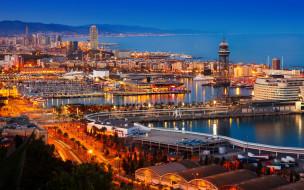 города, барселона , испания, панорама, вечер, огни