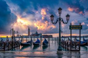 города, венеция , италия, город, небо, венеция, побережье, причал, гондолы
