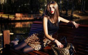 парк, колготки, сумка, скамейка, Юлия Зарубина, юбка, топ, шатенка, модель