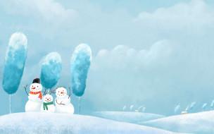 рисованное, - другое, дома, снег, деревья, снеговики